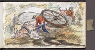 Upset cart, Touchwood Hills / Chariot renversé, Touchwood Hills
