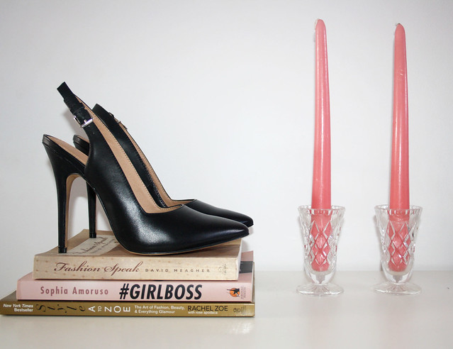 black leather slingback heels from The Iconic