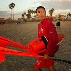 Los Angeles County lifeguard on alert.
