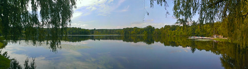 park summer lake reflection water glass michigan bluesky september addisontownship addisonoakscountypark