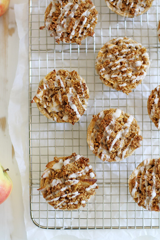 Mini Iced Oatmeal Cookie Apple Pies | girlversusdough.com