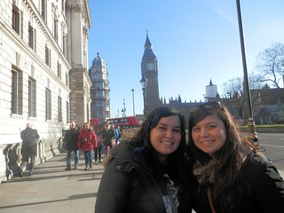 In London during a recent visit from her sister Heather, left, she and Brooke Baslee pose in front of Big Ben and the Parliament.