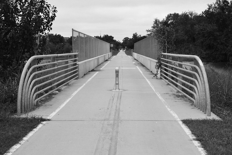 Heights Bike Trail (formerly railroad) over Studemont, Houston, Texas 1409141345bw