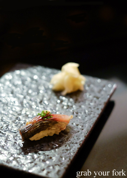 Mackerel sushi at Sokyo at The Star, Pyrmont