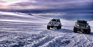 Jeeps On Katla Glacier Cap
