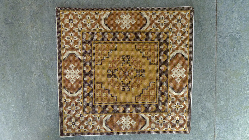 Mongolian rug carpet cross stitch embroidered by me dollhouse miniatures 1:12