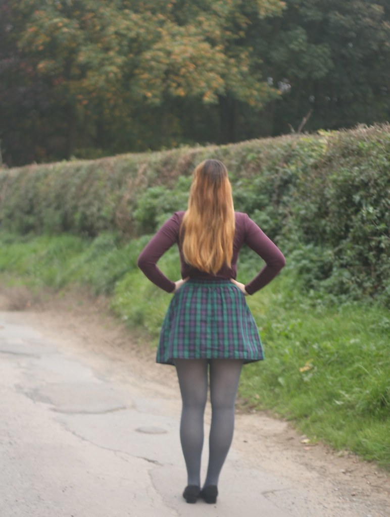 Tartan skirt, grey tights