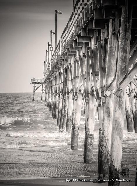 Fishing pier surf city beach topsail island nc sepia black for Surf city fishing pier