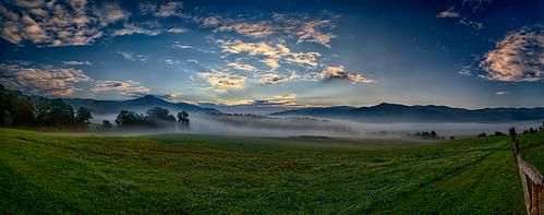 panorama mountain weather fog clouds sunrise landscape unitedstates tennessee meadow valley cadescove greatsmokymountainsnationalpark
