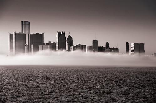november urban sun water fog skyline mi buildings river landscape outside downtown autum detroit bluesky detroitriver ciity cityscpe renisaincecenter