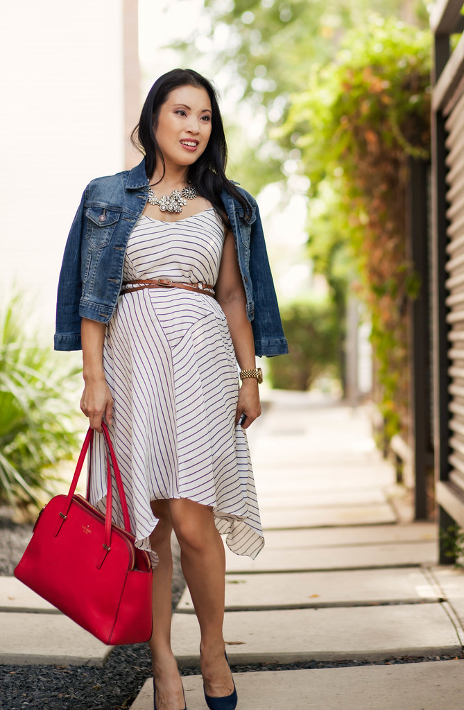 cute & little blog | petite fashion | maternity baby bump pregnant | striped trapeze dress, crystal statement necklace, denim cropped jacket, kate spade red bag | second trimester 23 weeks