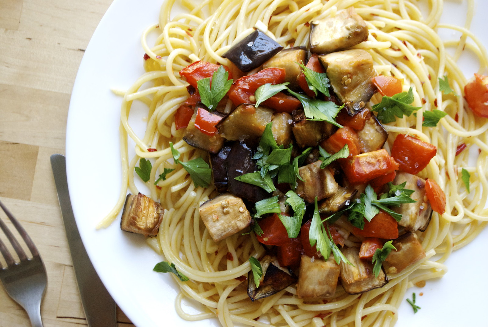 Roasted Eggplant and Tomato Pasta – Kitchen in the Hills