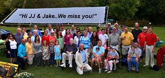 Group photo dedicated to Jake and JJ. We had a great time at the social hosted by Ed and Kay Smallwood.