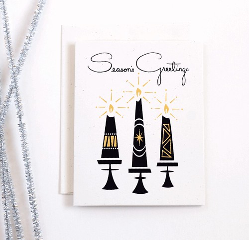 Season's Greetings, hand screen printed holiday card by Vitamini