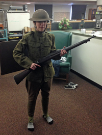 Sarah Gilcrease dressed in a World War I uniform