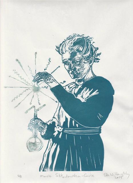 Marie Curie linocut glows in the dark