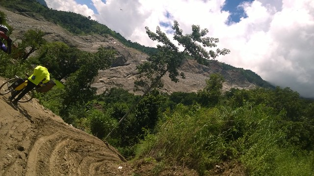 Attempt to photograph the extents of Arniko Highway landslide