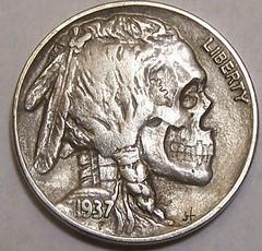 Hobo Nickel skull obverse