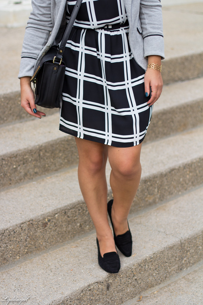 grid print dress, grey sweatshirt blazer-5.jpg