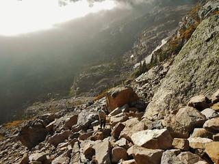 Ascending the Boulderfield to Little Matterhorn
