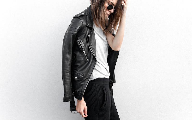 modern legacy fashion blog Australia BLK DNM leather biker jacket 8 Zimmermann grey basic tee Bassike cable knit pants Alexander Wang Antonia heels street style (3 of 6)