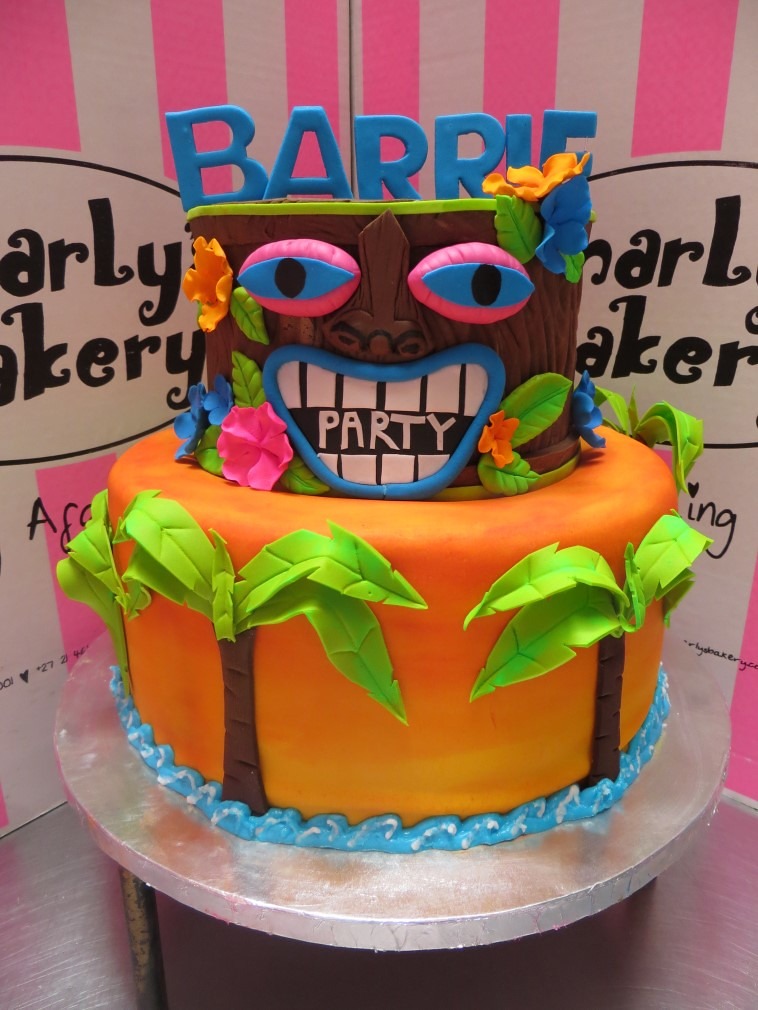 2 Tiered Hawaiian Tiki Bar Themed Birthday Cake