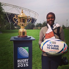 Webb Ellis Cup at Olympic Stadium #oneyeartogo #rugbyworldcup #England2015 #OlympicPark #rugby #TooBigToMiss