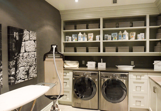 Cozy gray  Laundry Room ideas: Princess Margaret Showhome in Oakville by Brian Gluckstein