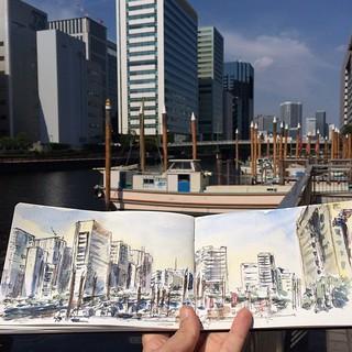 #urbansketch #tokyo #japon #carbon #watercolor