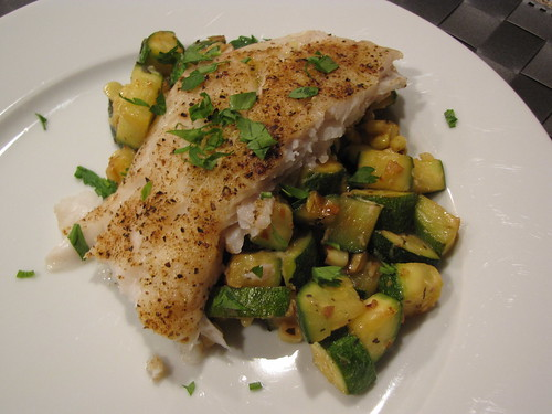 Baked Cod with Zucchini & Corn Saute