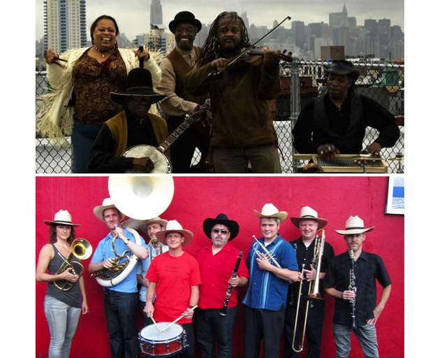 The Ebony Hillbillies (top); photo by Weston Wells. Banda de los Muertos (bottom); photo by Valerie Trucchia