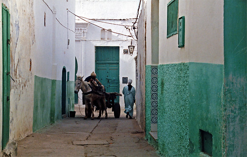a narrow street in Asilah, Morocco