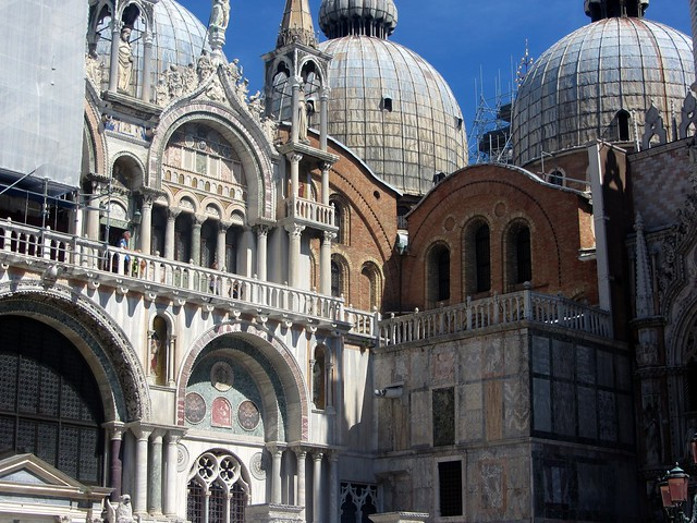 The busy front of Saint Mark's Basilica