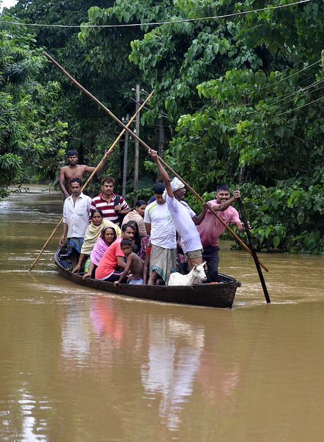 The flood affected the people struggles their way in Boko and Chaygaon area in Assam's Kamrup district.