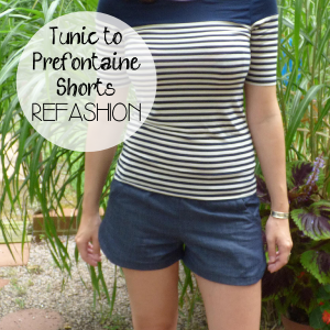 Denim Tunic to Prefontaine Shorts Refashion by Hey, it's SJ