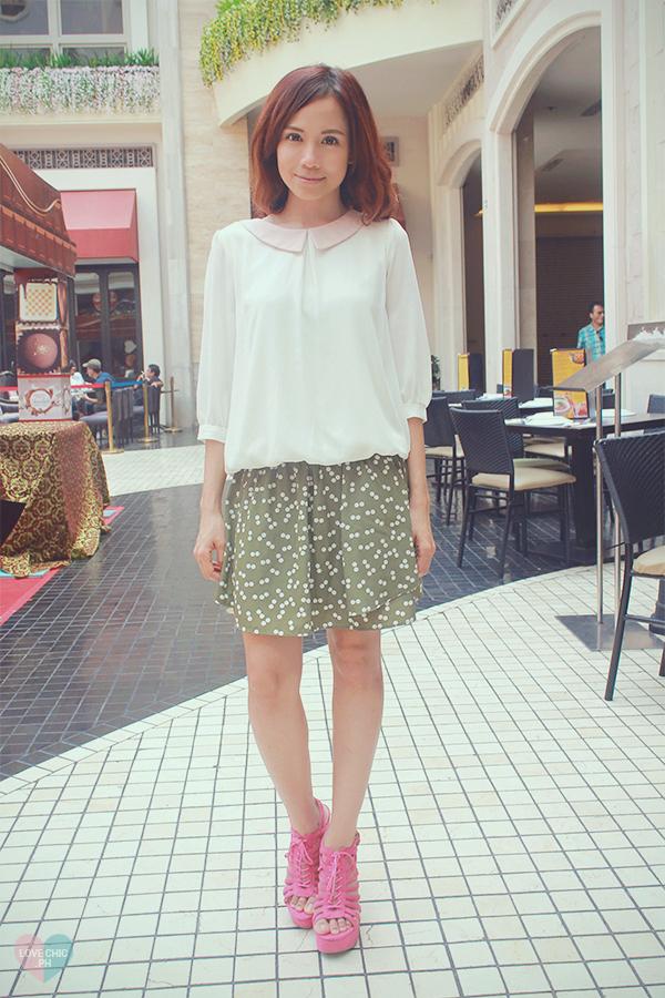 love chic lovechic shai lagarde shailagarde outfit style fashion blogger manila polka dot skirt chiffon top pink platform sandals 5