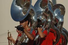 drummer(0.0), tuba(0.0), drums(0.0), drum(0.0), sousaphone(1.0), musician(1.0), musical instrument(1.0), music(1.0), brass instrument(1.0),