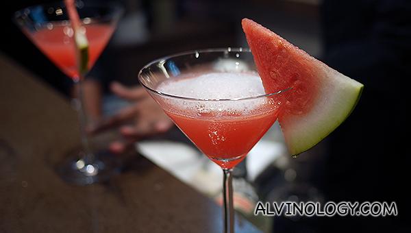 Compressed watermelon martini