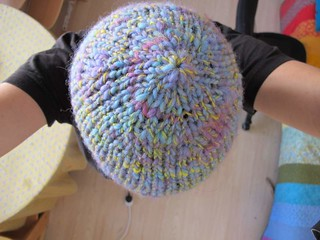 hat with hand spun and hand dyed yarn