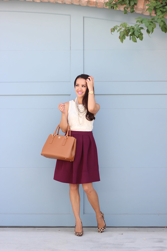 Burgundy Dress And Nude Shoes