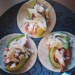 Fish tacos. #salmon #cabbage #avocado