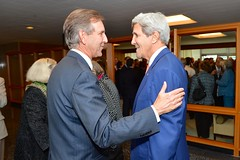 U.S. Secretary of State John Kerry chats with Assistant Secretary of State for Conflict and Stabilization Operations Rick Barton before delivering remarks at his farewell reception at the U.S. Department of State in Washington, D.C., on September 29, 2014. [State Department photo/ Public Domain]
