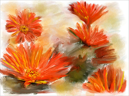 Image of red mums painted in Painter 2015