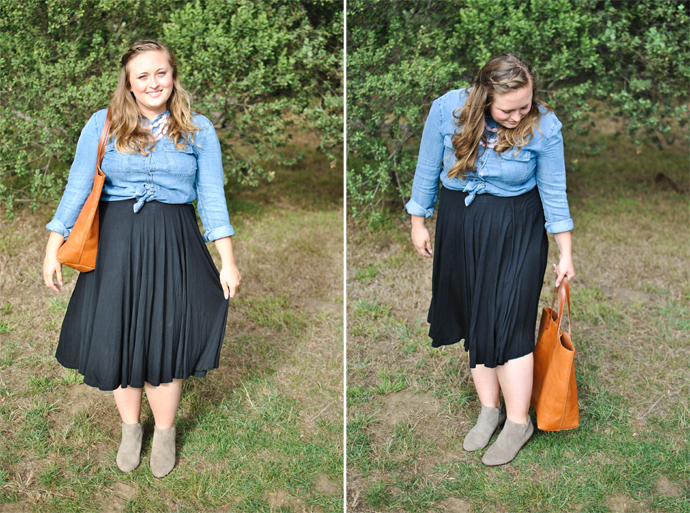 fall, outfit, ootd, style, chambray, skirt, madewell, boots