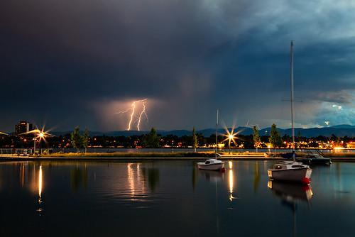 park lake storm boats evening colorado dusk denver lightning cityparks