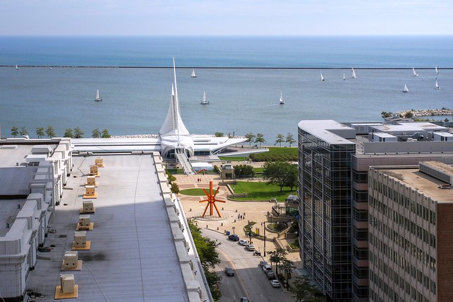 Looking to the Milwaukee Art Museum and Lake Michigan from the Gas Building