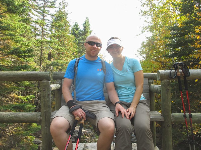 Sara and Patrick on Bench Near Cascade River Lodge