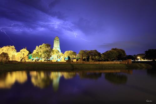 park sunset 2 cloud storm statue night clouds canon thailand evening asia mark buddha south buddhism east thai historical 5d asie 16 lightning ram wat 35 thailande phra ayutthaya prang