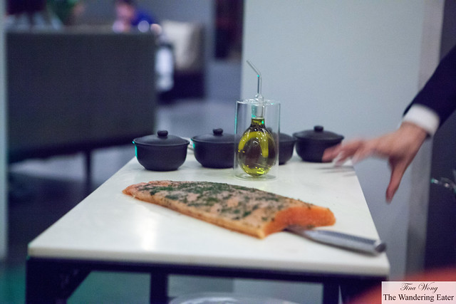 Tableside service of sliced fresh lox