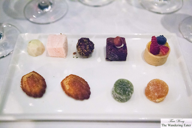 Bonbon and dark chocolate truffle, fresh stawberry marshmallow, pâte de fruits, mini fruit tart and mini madelines